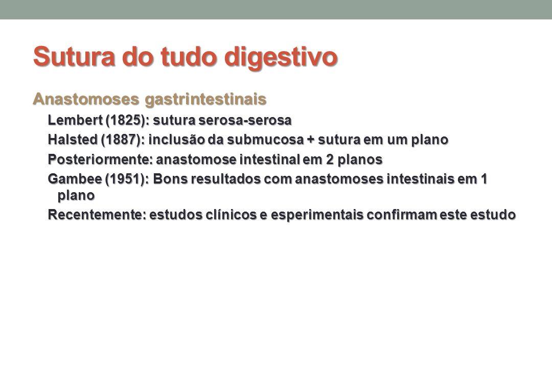 Sutura do tudo digestivo Anastomoses gastrintestinais Lembert (1825): sutura serosa-serosa Halsted (1887): inclusão da submucosa + sutura em um plano Posteriormente: anastomose intestinal em 2 planos Gambee (1951): Bons resultados com anastomoses intestinais em 1 plano Recentemente: estudos clínicos e esperimentais confirmam este estudo