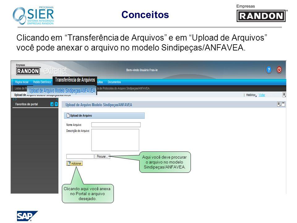 Conceitos Clicando em Transferência de Arquivos e em Upload de Arquivos você pode anexar o arquivo no modelo Sindipeças/ANFAVEA. Aqui você deve procur
