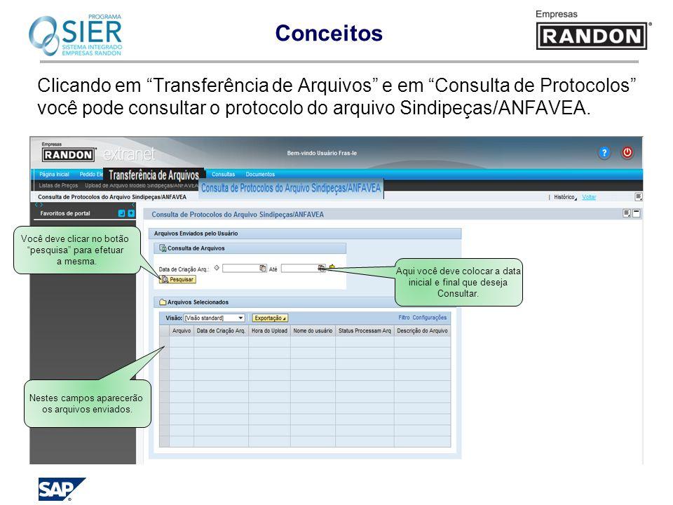 Clicando em Transferência de Arquivos e em Consulta de Protocolos você pode consultar o protocolo do arquivo Sindipeças/ANFAVEA. Aqui você deve coloca