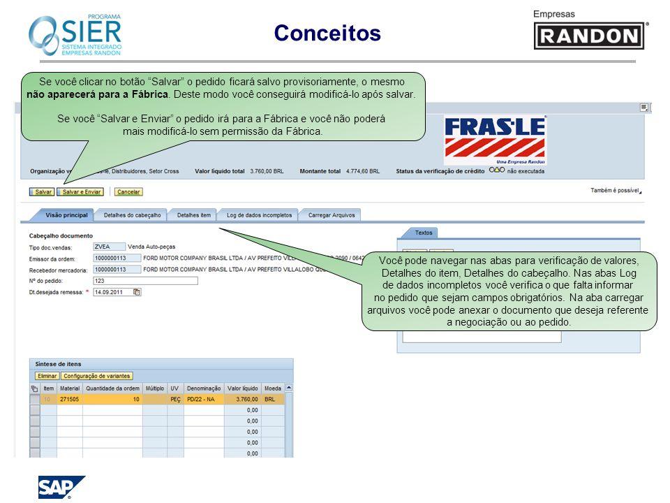 Conceitos Você pode navegar nas abas para verificação de valores, Detalhes do item, Detalhes do cabeçalho. Nas abas Log de dados incompletos você veri