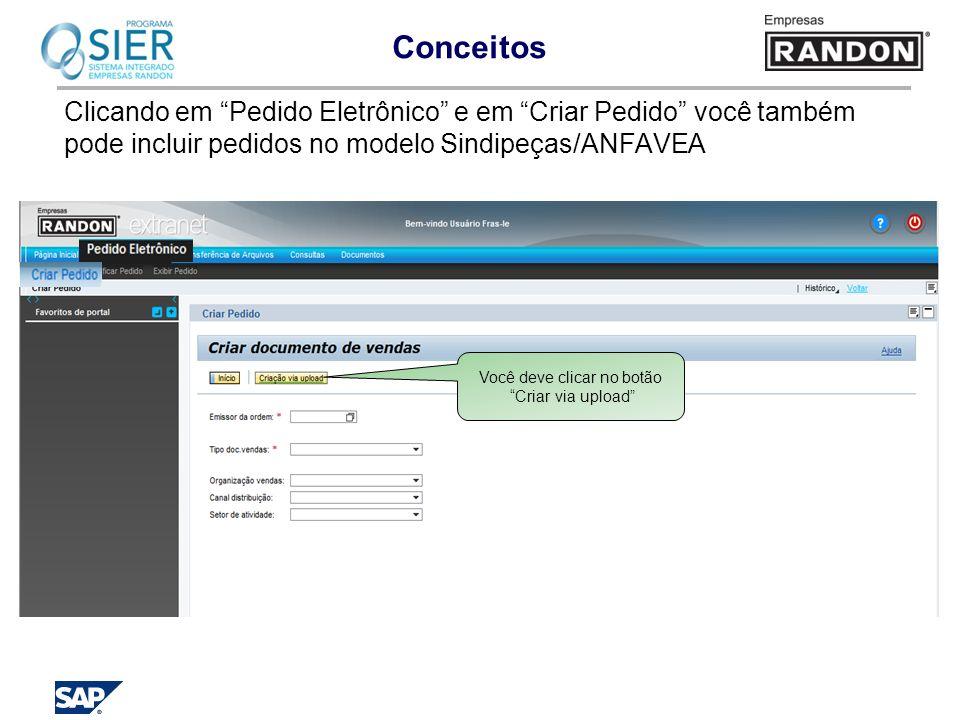 Conceitos Clicando em Pedido Eletrônico e em Criar Pedido você também pode incluir pedidos no modelo Sindipeças/ANFAVEA Você deve clicar no botão Cria