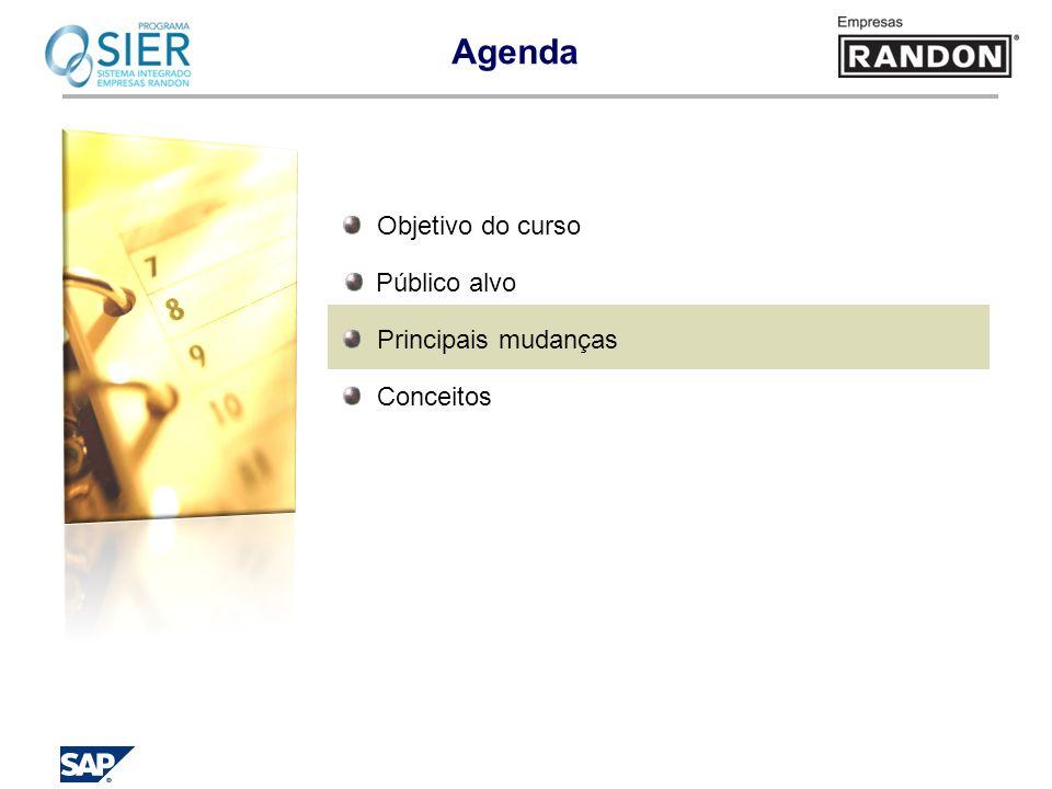Agenda Objetivo do curso Público alvo Principais mudanças Conceitos