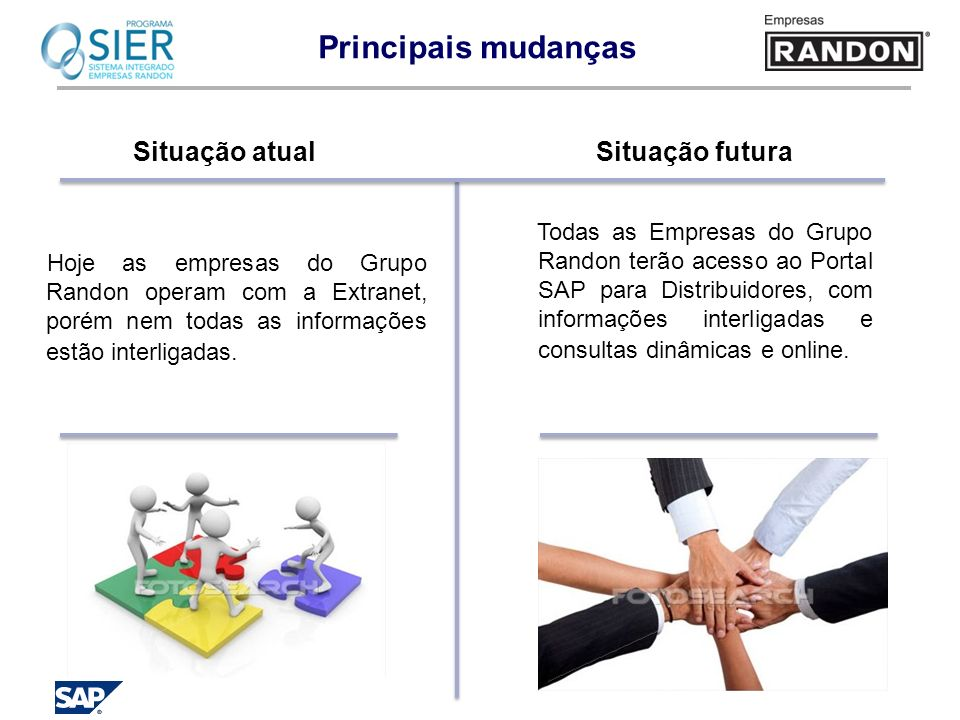 Principais mudanças Situação atual Hoje as empresas do Grupo Randon operam com a Extranet, porém nem todas as informações estão interligadas. Situação
