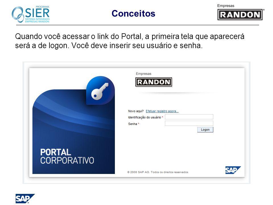 Quando você acessar o link do Portal, a primeira tela que aparecerá será a de logon. Você deve inserir seu usuário e senha.