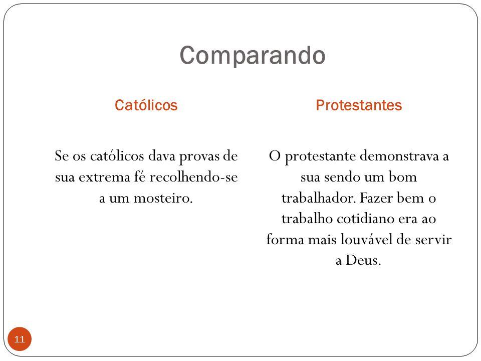 Comparando CatólicosProtestantes 11 Se os católicos dava provas de sua extrema fé recolhendo-se a um mosteiro.