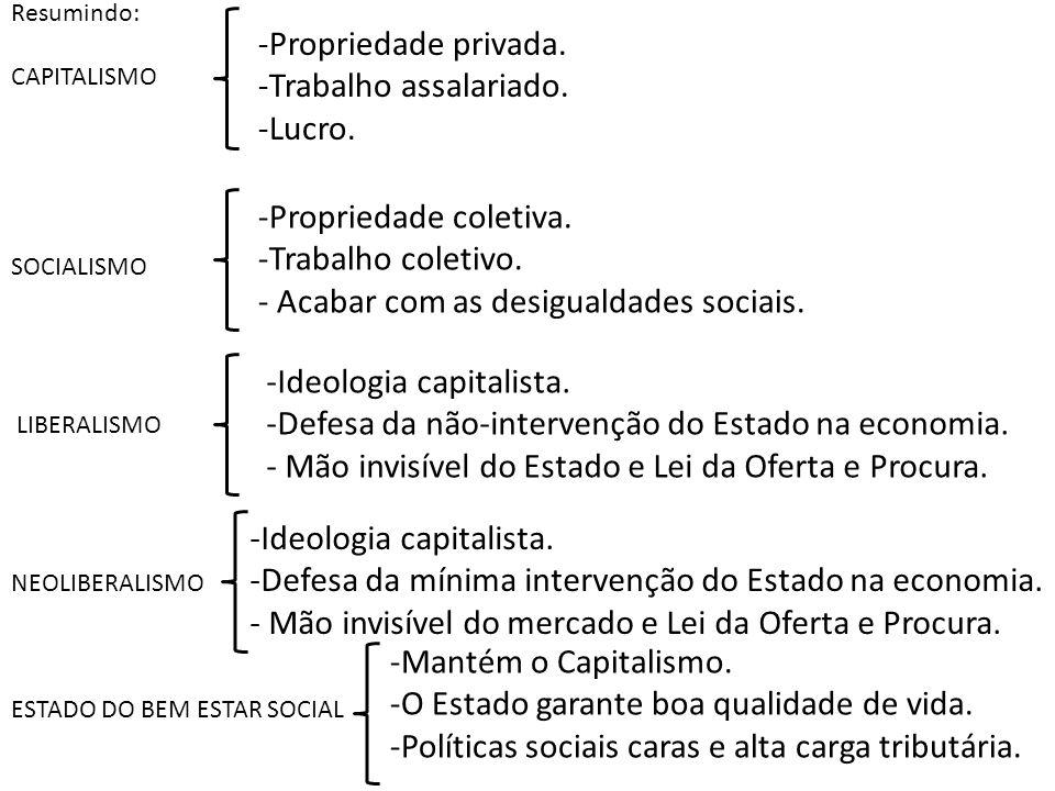 Resumindo: CAPITALISMO SOCIALISMO LIBERALISMO NEOLIBERALISMO ESTADO DO BEM ESTAR SOCIAL -Propriedade privada. -Trabalho assalariado. -Lucro. -Propried