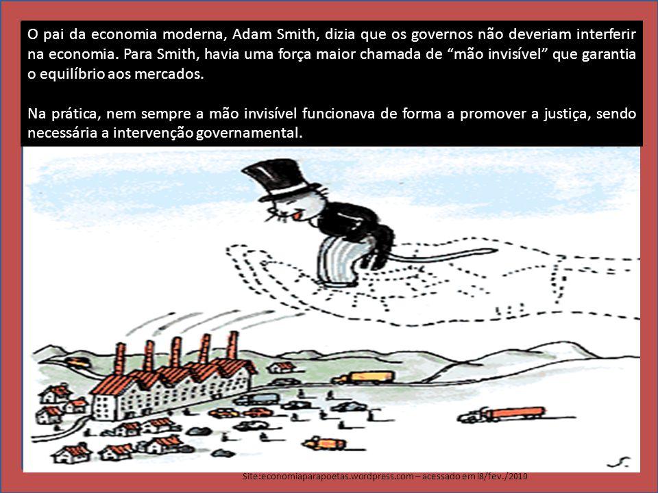ADAM SMITH O pai da economia moderna, Adam Smith, dizia que os governos não deveriam interferir na economia. Para Smith, havia uma força maior chamada