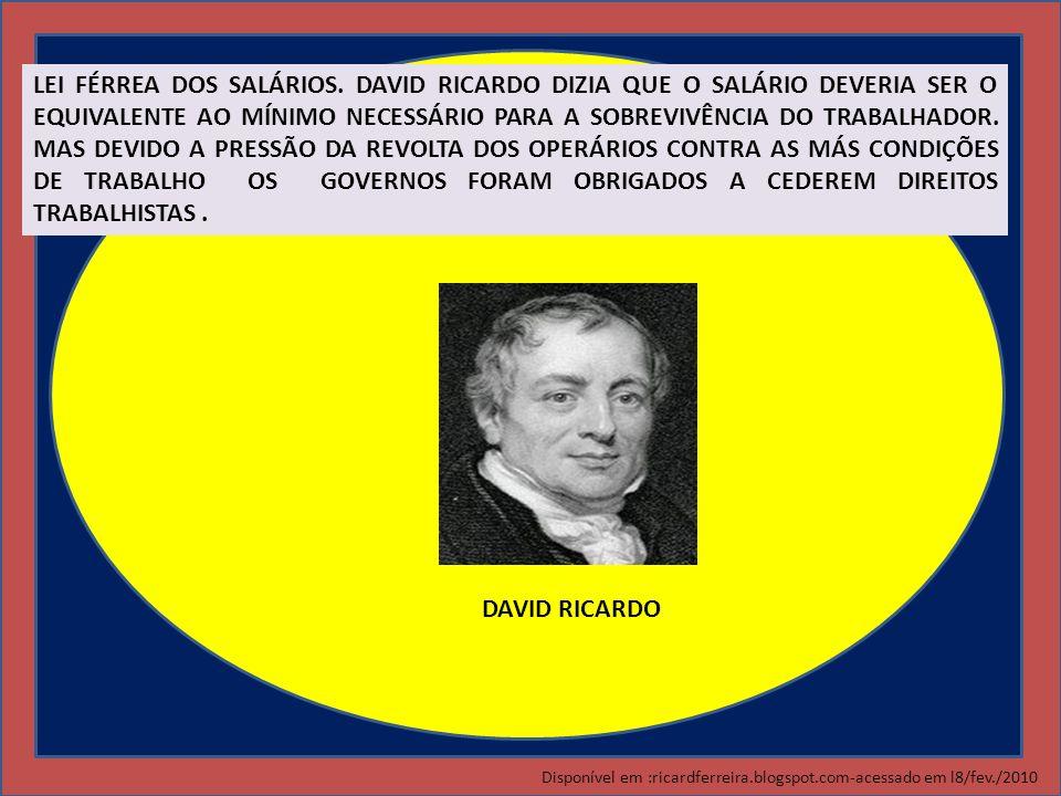 DAVID RICARDO LEI FÉRREA DOS SALÁRIOS. DAVID RICARDO DIZIA QUE O SALÁRIO DEVERIA SER O EQUIVALENTE AO MÍNIMO NECESSÁRIO PARA A SOBREVIVÊNCIA DO TRABAL