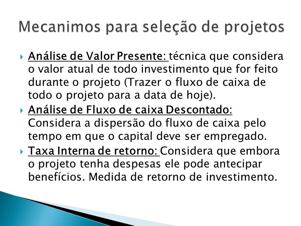 Análise de Valor Presente: técnica que considera o valor atual de todo investimento que for feito durante o projeto (Trazer o fluxo de caixa de todo o projeto para a data de hoje).