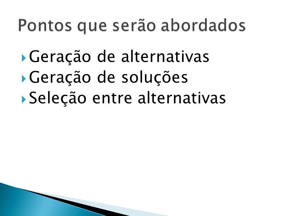 Geração de alternativas Geração de soluções Seleção entre alternativas
