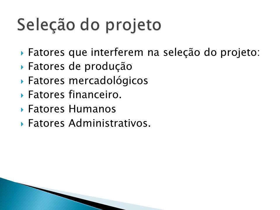 Fatores que interferem na seleção do projeto: Fatores de produção Fatores mercadológicos Fatores financeiro. Fatores Humanos Fatores Administrativos.