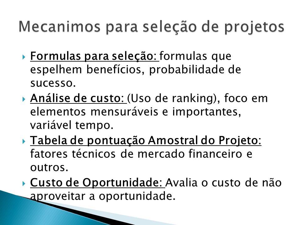 Formulas para seleção: formulas que espelhem benefícios, probabilidade de sucesso.