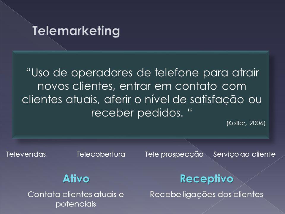 Televendas Telecobertura Tele prospecção Serviço ao cliente Uso de operadores de telefone para atrair novos clientes, entrar em contato com clientes atuais, aferir o nível de satisfação ou receber pedidos.