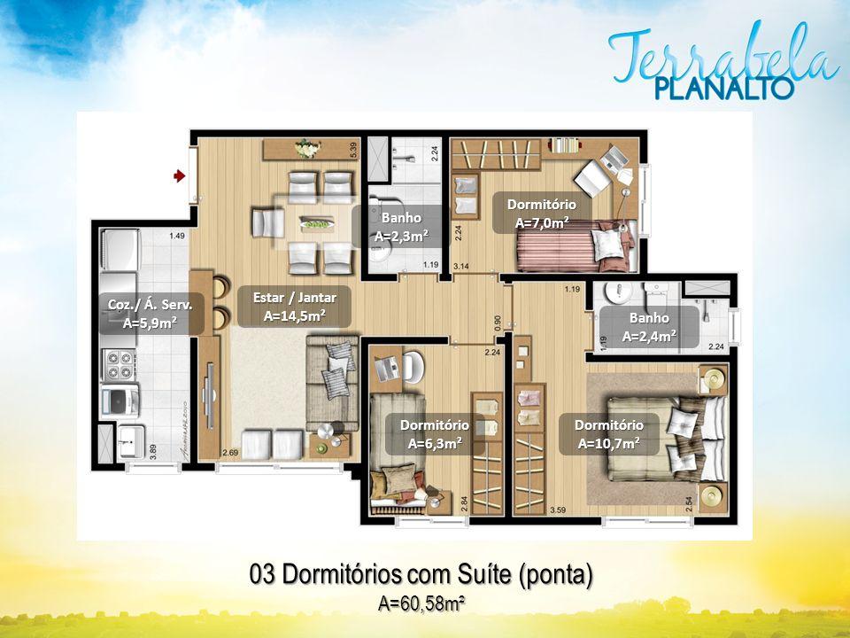 DormitórioA=10,7m² 03 Dormitórios com Suíte (ponta) A=60,58m² DormitórioA=7,0m² BanhoA=2,4m² DormitórioA=6,3m² BanhoA=2,3m² Estar / Jantar A=14,5m² Co