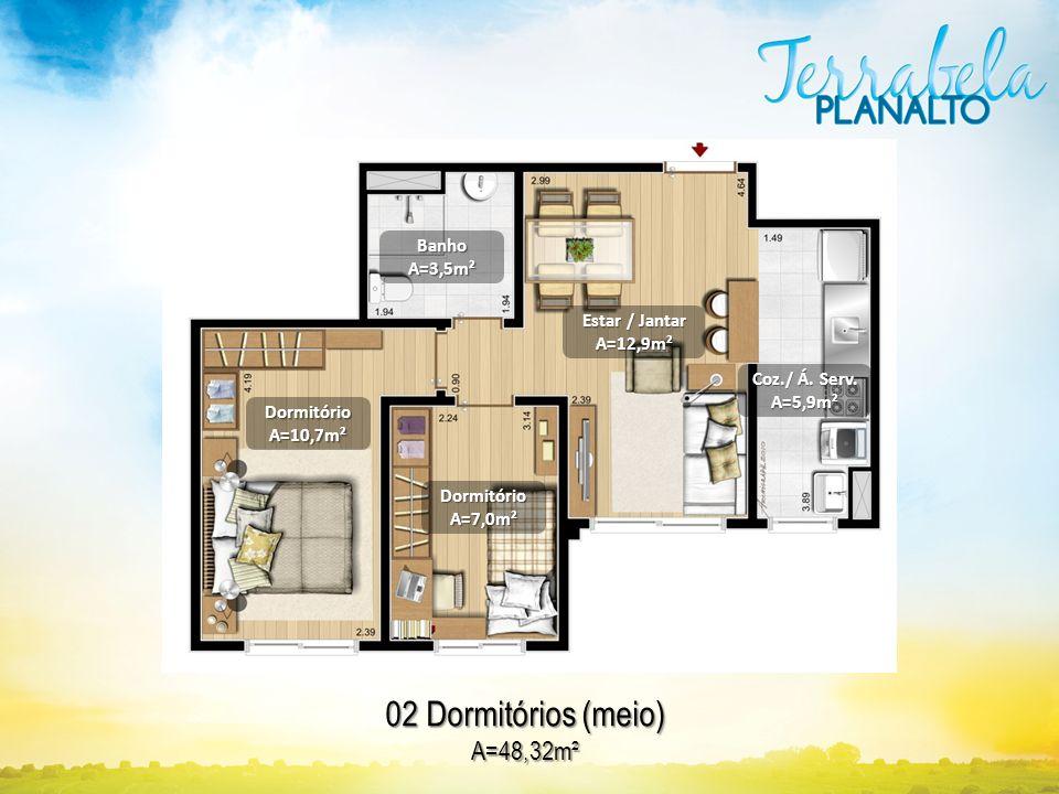 02 Dormitórios (meio) A=48,32m² DormitórioA=10,7m² BanhoA=3,5m² DormitórioA=7,0m² Estar / Jantar A=12,9m² Coz./ Á. Serv. A=5,9m²