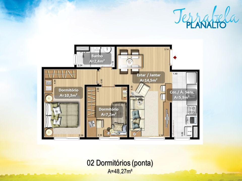 02 Dormitórios (ponta) A=48,27m² DormitórioA=10,3m² BanhoA=2,4m² DormitórioA=7,2m² Estar / Jantar A=14,5m² Coz./ Á. Serv. A=5,9m²
