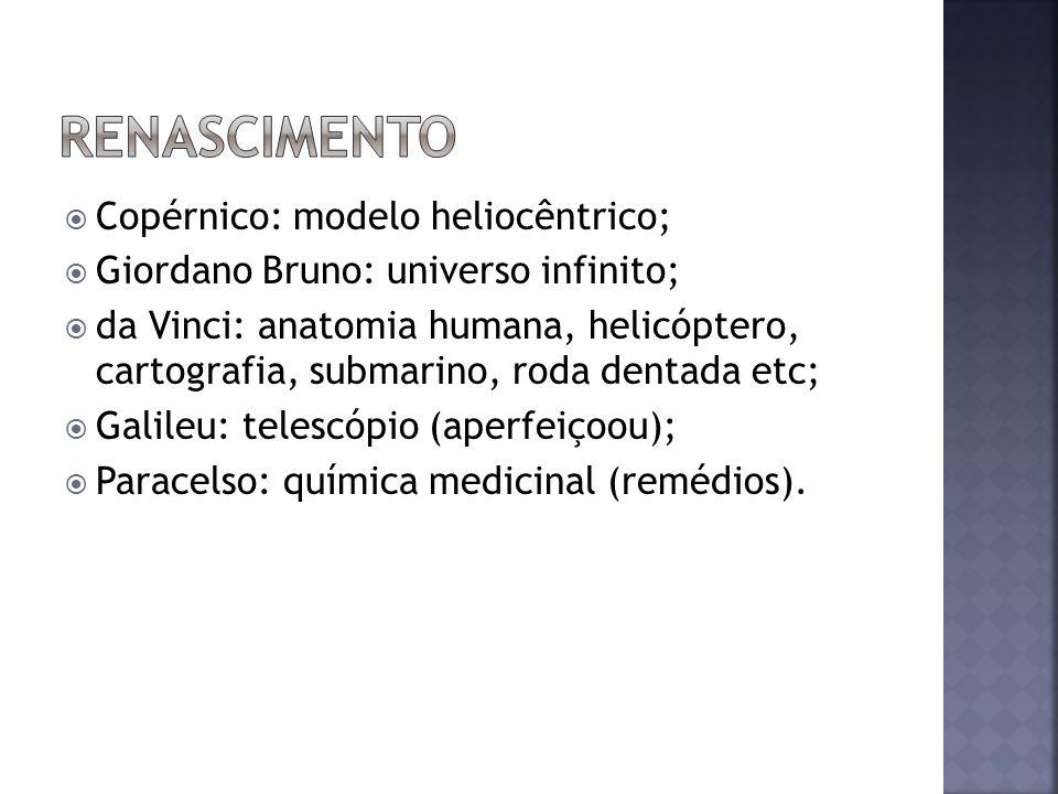 Copérnico: modelo heliocêntrico; Giordano Bruno: universo infinito; da Vinci: anatomia humana, helicóptero, cartografia, submarino, roda dentada etc; Galileu: telescópio (aperfeiçoou); Paracelso: química medicinal (remédios).