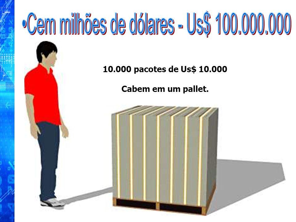 10.000 pacotes de Us$ 10.000 Cabem em um pallet.