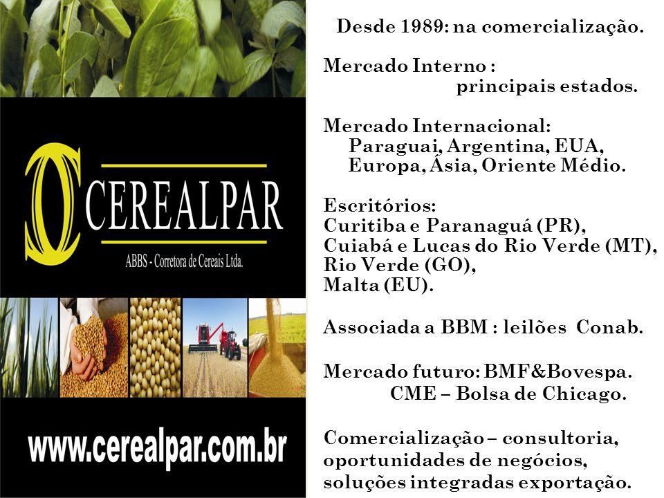 Desde 1989: na comercialização. Mercado Interno : principais estados. Mercado Internacional: Paraguai, Argentina, EUA, Europa, Ásia, Oriente Médio. Es
