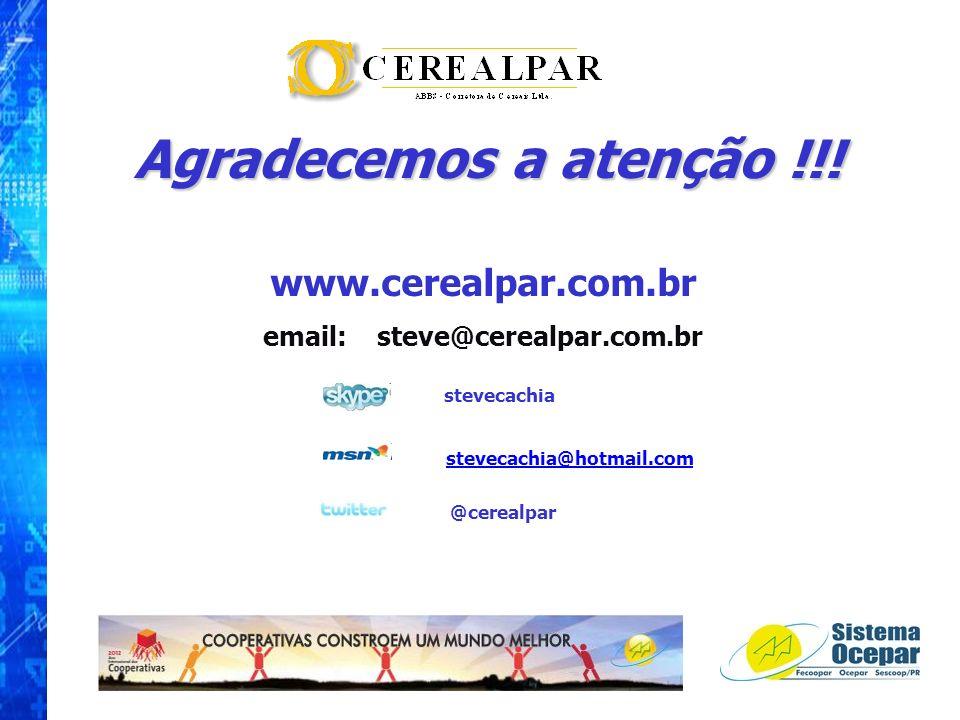 Agradecemos a atenção !!! www.cerealpar.com.br email: steve@cerealpar.com.br stevecachia stevecachia@hotmail.com @cerealpar