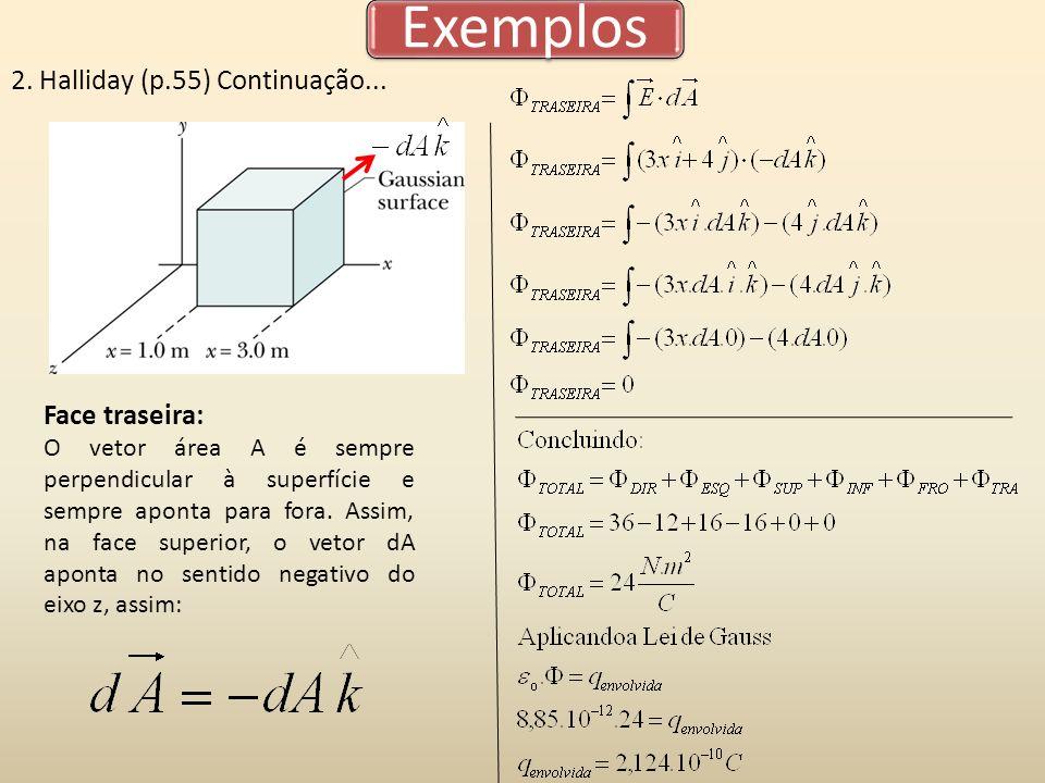 Exemplos 2. Halliday (p.55) Continuação... Face traseira: O vetor área A é sempre perpendicular à superfície e sempre aponta para fora. Assim, na face