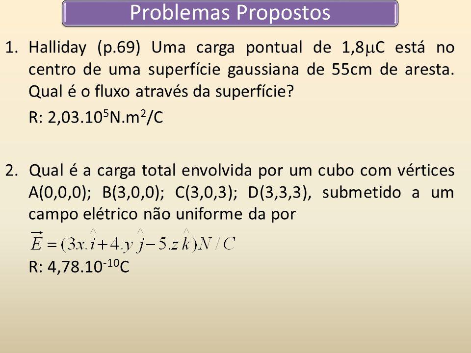 Problemas Propostos 1.Halliday (p.69) Uma carga pontual de 1,8 C está no centro de uma superfície gaussiana de 55cm de aresta. Qual é o fluxo através