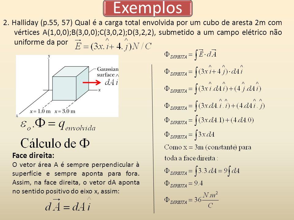 Exemplos 2. Halliday (p.55, 57) Qual é a carga total envolvida por um cubo de aresta 2m com vértices A(1,0,0);B(3,0,0);C(3,0,2);D(3,2,2), submetido a