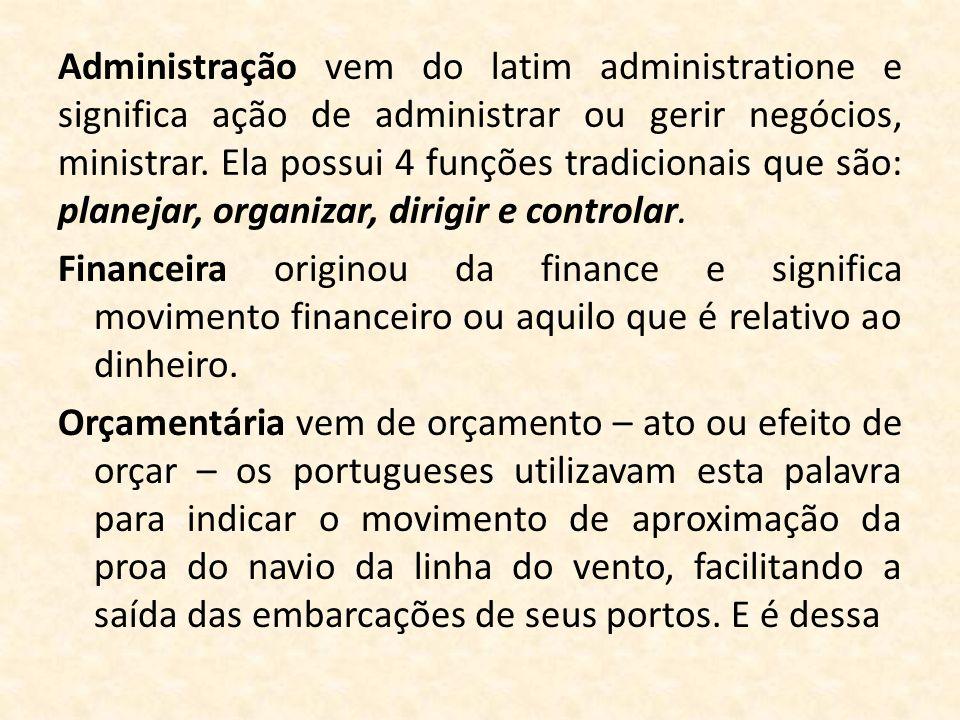 Administração vem do latim administratione e significa ação de administrar ou gerir negócios, ministrar. Ela possui 4 funções tradicionais que são: pl