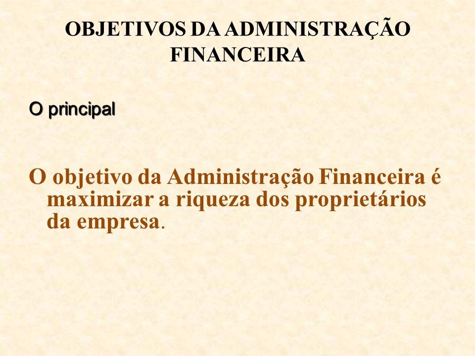 OBJETIVOS DA ADMINISTRAÇÃO FINANCEIRA O principal O objetivo da Administração Financeira é maximizar a riqueza dos proprietários da empresa.