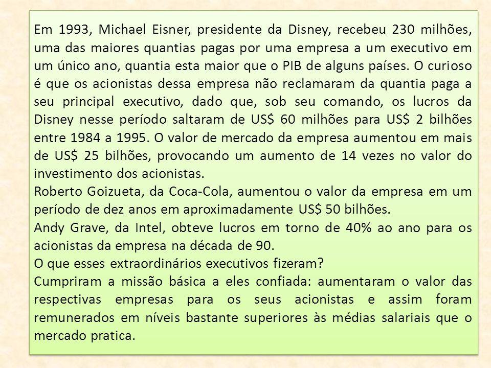 Em 1993, Michael Eisner, presidente da Disney, recebeu 230 milhões, uma das maiores quantias pagas por uma empresa a um executivo em um único ano, qua
