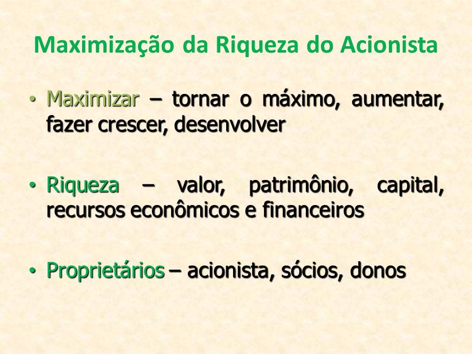 Maximização da Riqueza do Acionista Maximizar – tornar o máximo, aumentar, fazer crescer, desenvolver Maximizar – tornar o máximo, aumentar, fazer cre