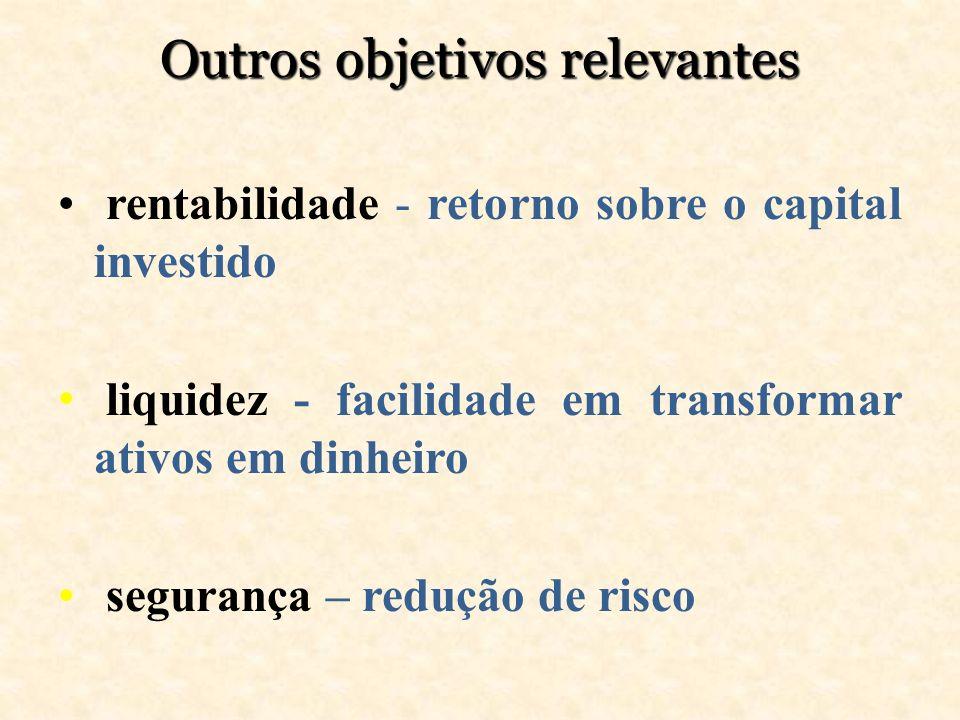 Outros objetivos relevantes rentabilidade - retorno sobre o capital investido liquidez - facilidade em transformar ativos em dinheiro segurança – redu