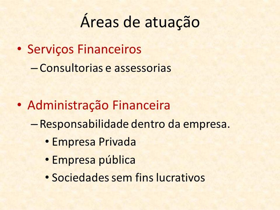 Áreas de atuação Serviços Financeiros – Consultorias e assessorias Administração Financeira – Responsabilidade dentro da empresa. Empresa Privada Empr