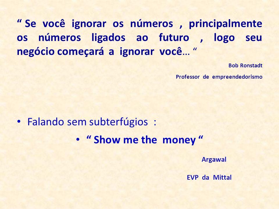 Falando sem subterfúgios : Show me the money Argawal EVP da Mittal Se você ignorar os números, principalmente os números ligados ao futuro, logo seu n