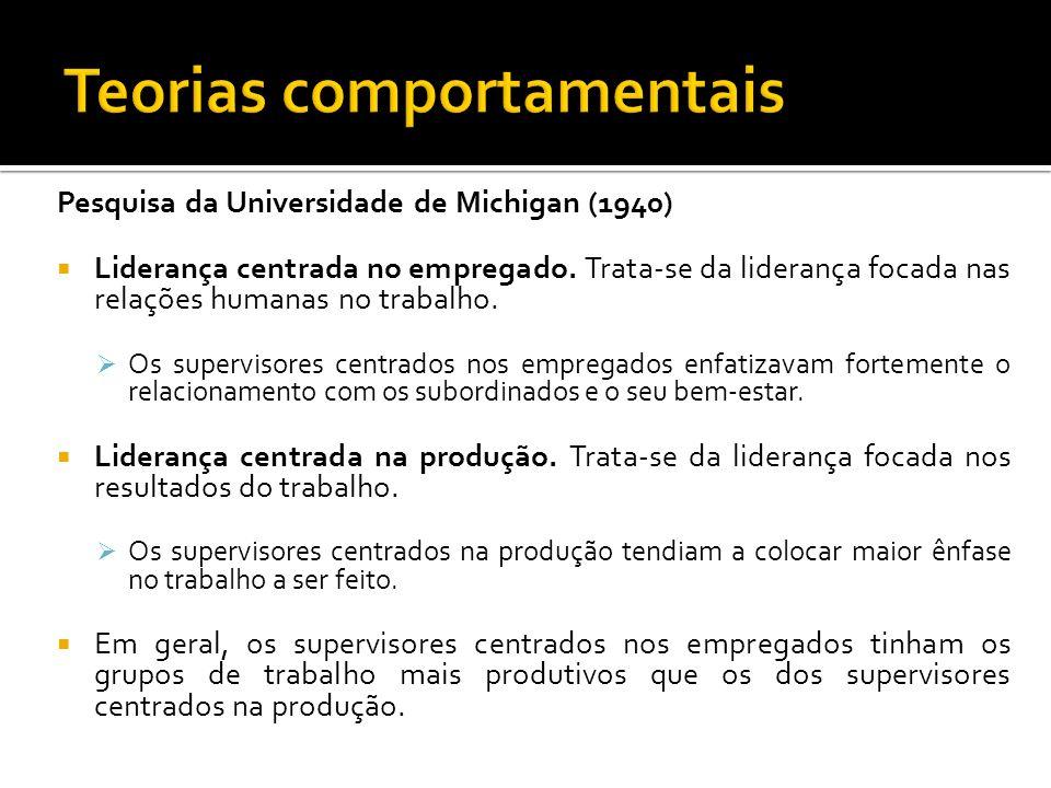 Pesquisa da Universidade de Michigan (1940) Liderança centrada no empregado. Trata-se da liderança focada nas relações humanas no trabalho. Os supervi