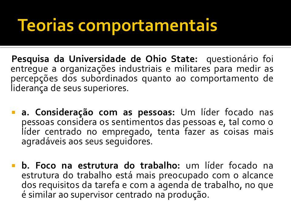 Pesquisa da Universidade de Ohio State: questionário foi entregue a organizações industriais e militares para medir as percepções dos subordinados qua