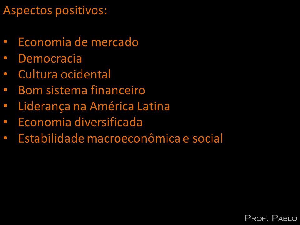 Aspectos positivos: Economia de mercado Democracia Cultura ocidental Bom sistema financeiro Liderança na América Latina Economia diversificada Estabil