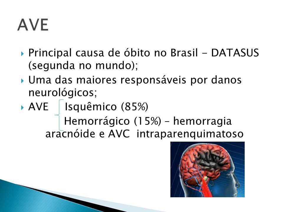 Principal causa de óbito no Brasil - DATASUS (segunda no mundo); Uma das maiores responsáveis por danos neurológicos; AVE Isquêmico (85%) Hemorrágico (15%) – hemorragia aracnóide e AVC intraparenquimatoso