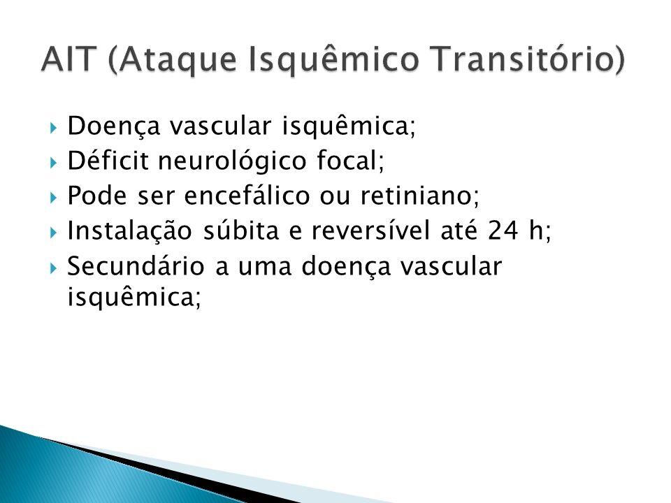 Doença vascular isquêmica; Déficit neurológico focal; Pode ser encefálico ou retiniano; Instalação súbita e reversível até 24 h; Secundário a uma doença vascular isquêmica;