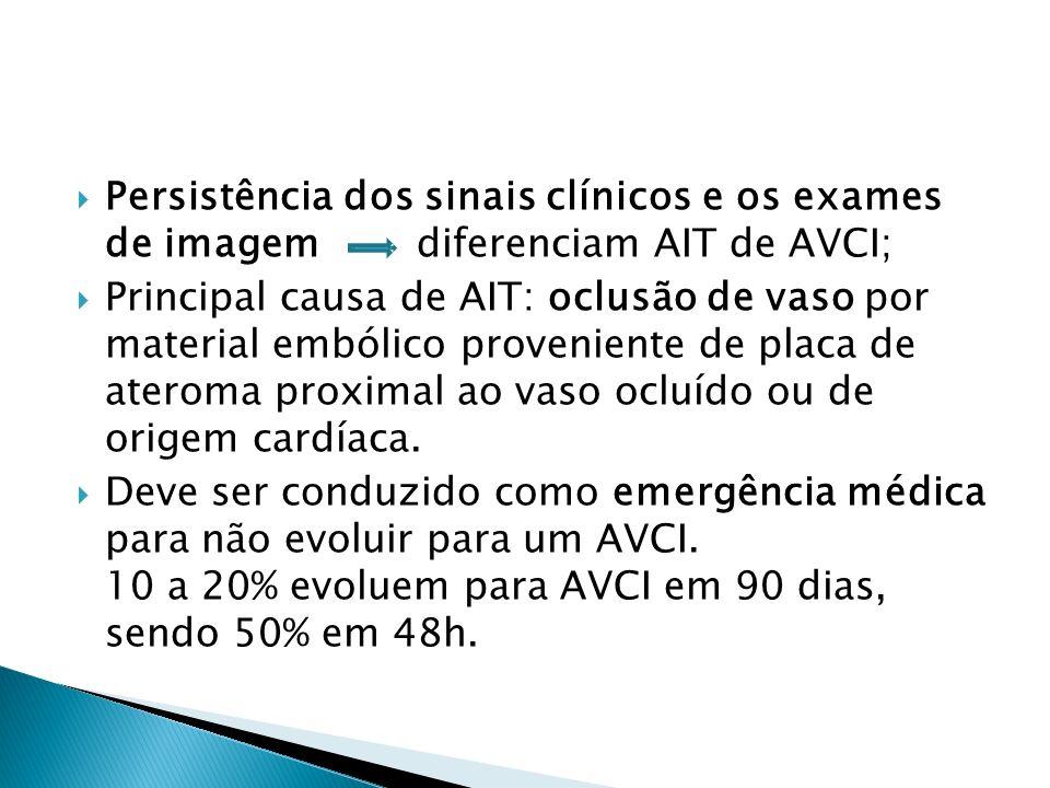 Persistência dos sinais clínicos e os exames de imagem diferenciam AIT de AVCI; Principal causa de AIT: oclusão de vaso por material embólico proveniente de placa de ateroma proximal ao vaso ocluído ou de origem cardíaca.
