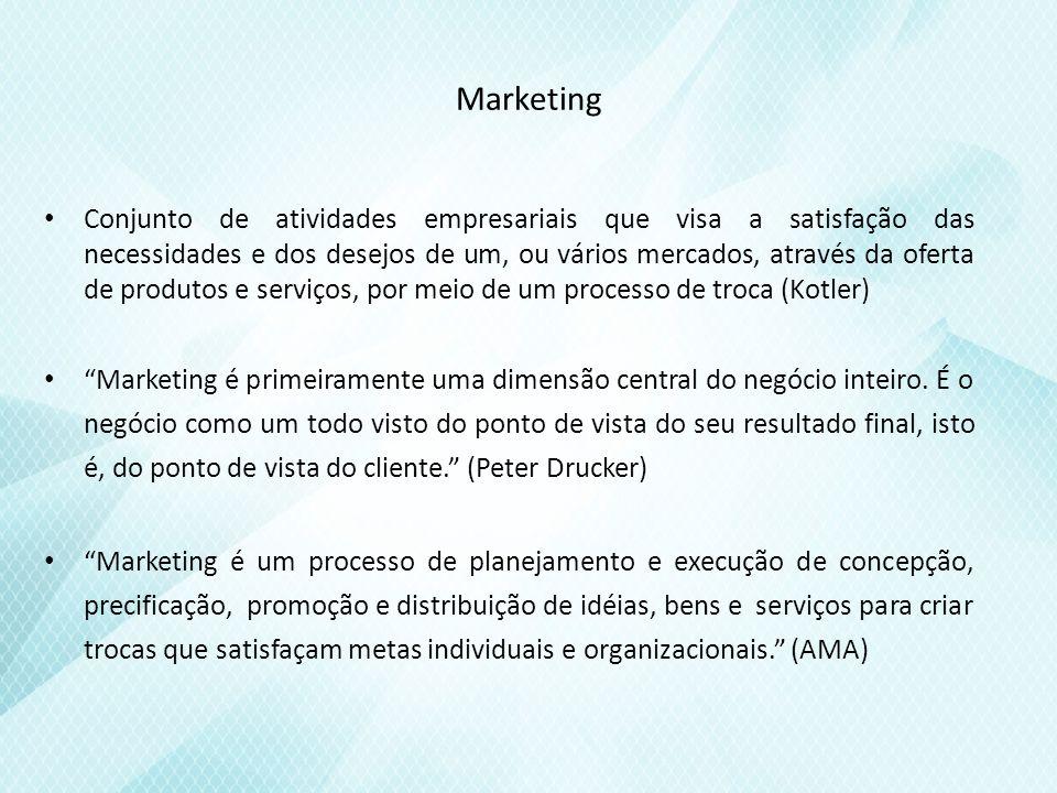 Marketing Conjunto de atividades empresariais que visa a satisfação das necessidades e dos desejos de um, ou vários mercados, através da oferta de produtos e serviços, por meio de um processo de troca (Kotler) Marketing é primeiramente uma dimensão central do negócio inteiro.