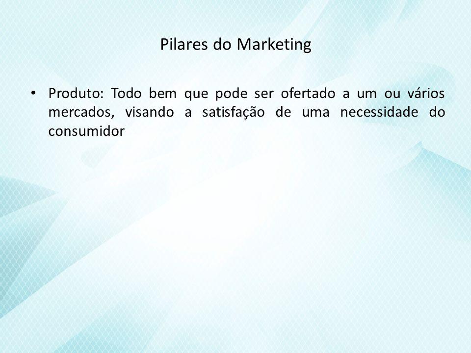 Pilares do Marketing Produto: Todo bem que pode ser ofertado a um ou vários mercados, visando a satisfação de uma necessidade do consumidor