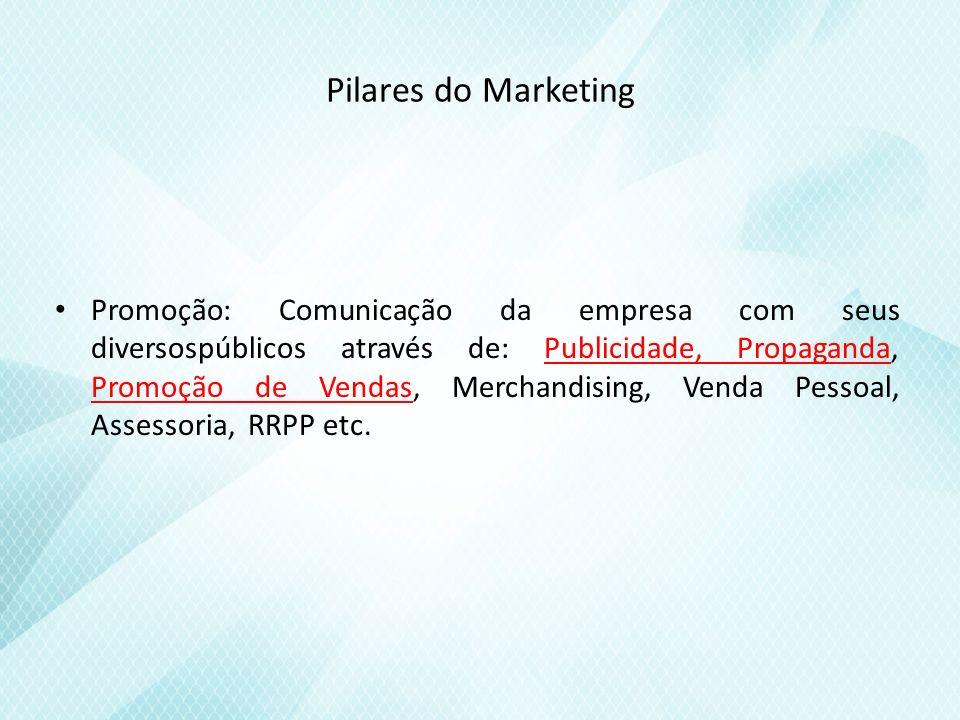 Pilares do Marketing Promoção: Comunicação da empresa com seus diversospúblicos através de: Publicidade, Propaganda, Promoção de Vendas, Merchandising, Venda Pessoal, Assessoria, RRPP etc.