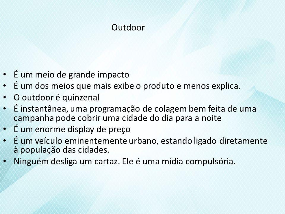 Outdoor É um meio de grande impacto É um dos meios que mais exibe o produto e menos explica.