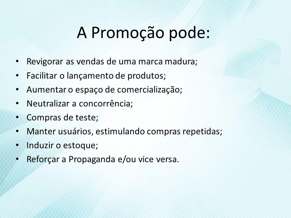 A Promoção pode: Revigorar as vendas de uma marca madura; Facilitar o lançamento de produtos; Aumentar o espaço de comercialização; Neutralizar a concorrência; Compras de teste; Manter usuários, estimulando compras repetidas; Induzir o estoque; Reforçar a Propaganda e/ou vice versa.