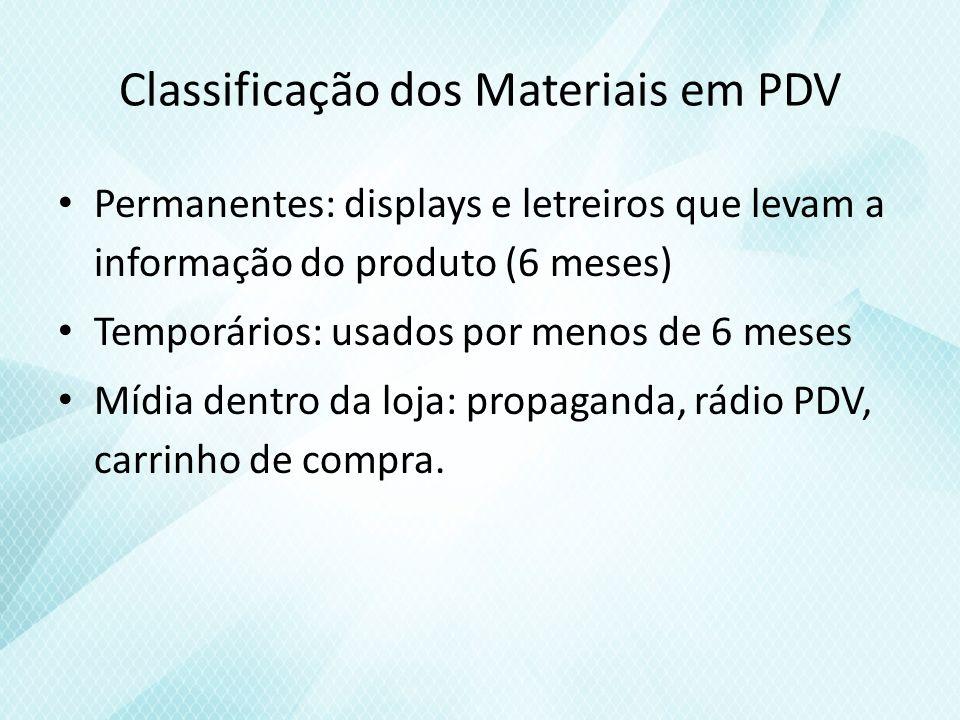 Classificação dos Materiais em PDV Permanentes: displays e letreiros que levam a informação do produto (6 meses) Temporários: usados por menos de 6 meses Mídia dentro da loja: propaganda, rádio PDV, carrinho de compra.