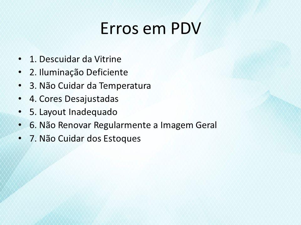 Erros em PDV 1.Descuidar da Vitrine 2. Iluminação Deficiente 3.