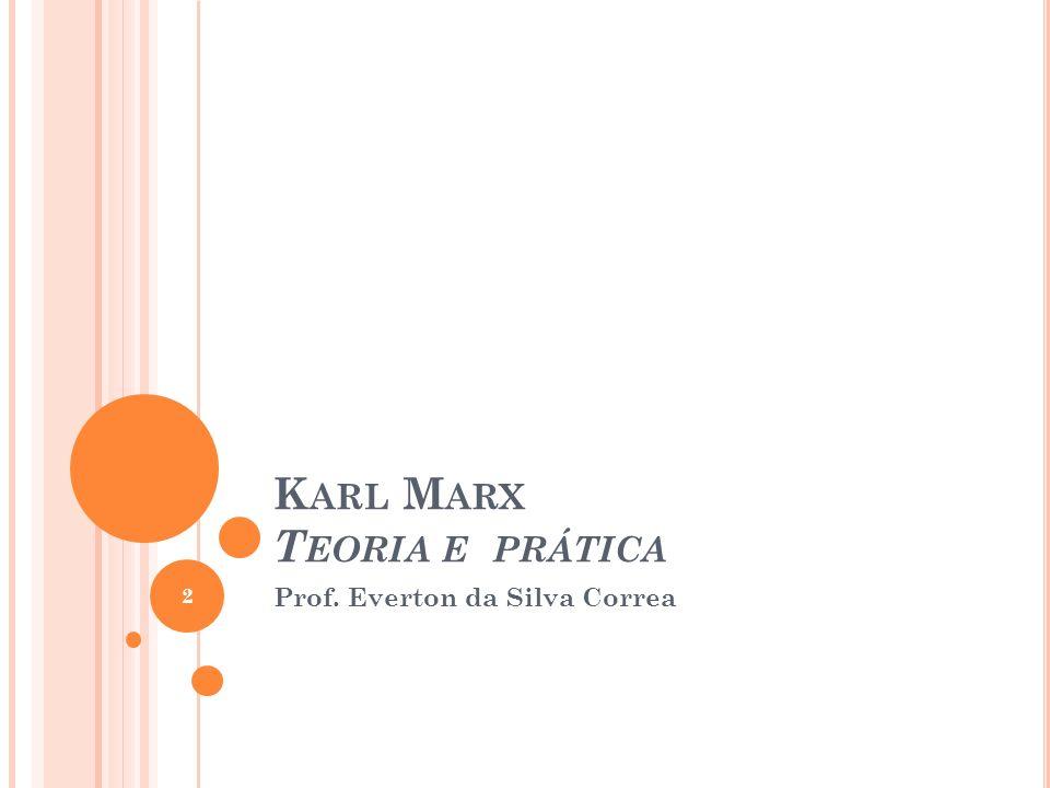 K ARL M ARX T EORIA E PRÁTICA Prof. Everton da Silva Correa 2