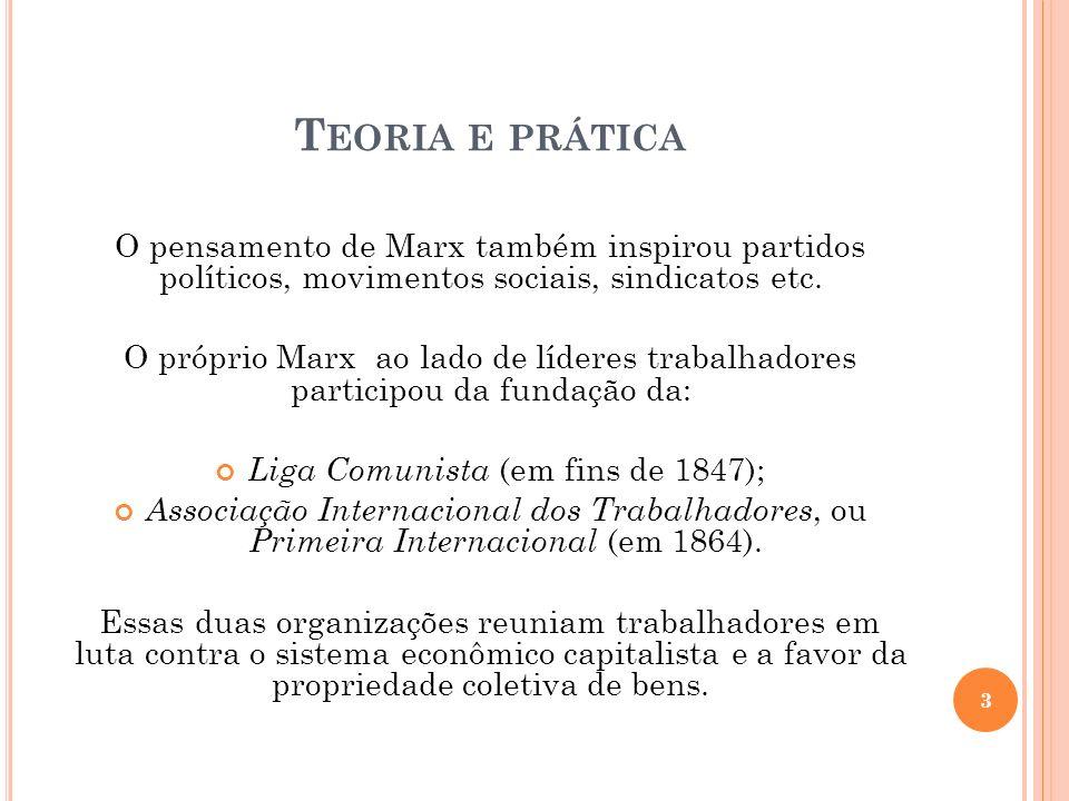 T EORIA E PRÁTICA O pensamento de Marx também inspirou partidos políticos, movimentos sociais, sindicatos etc. O próprio Marx ao lado de líderes traba