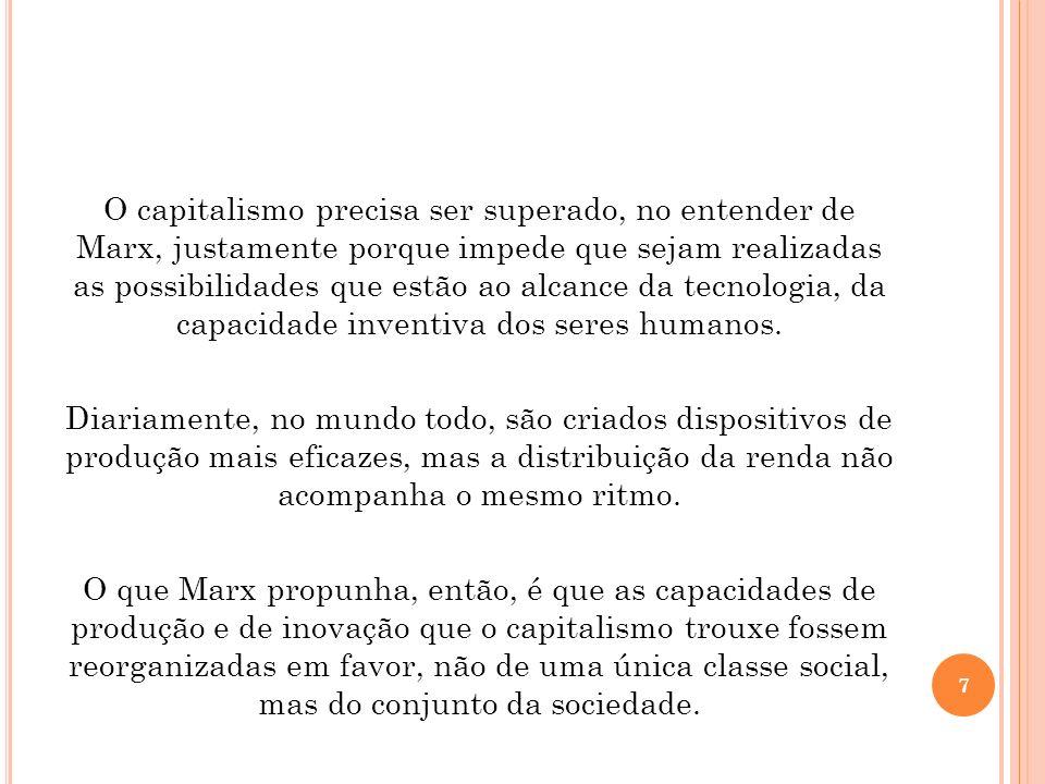 O capitalismo precisa ser superado, no entender de Marx, justamente porque impede que sejam realizadas as possibilidades que estão ao alcance da tecno